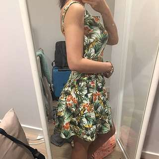 Tropical Print Cutout Dress