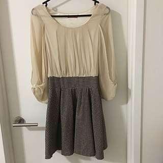 Beige Brown Houndstooth Print Short Dress