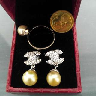 Authentic Philippine South Sea Pearl Earrings And Ring Set (in champagne color)