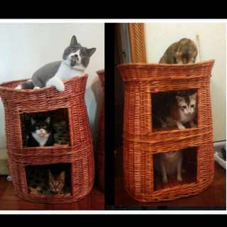 (NEW!)$70 Large Tall Rattan Pet Bed House