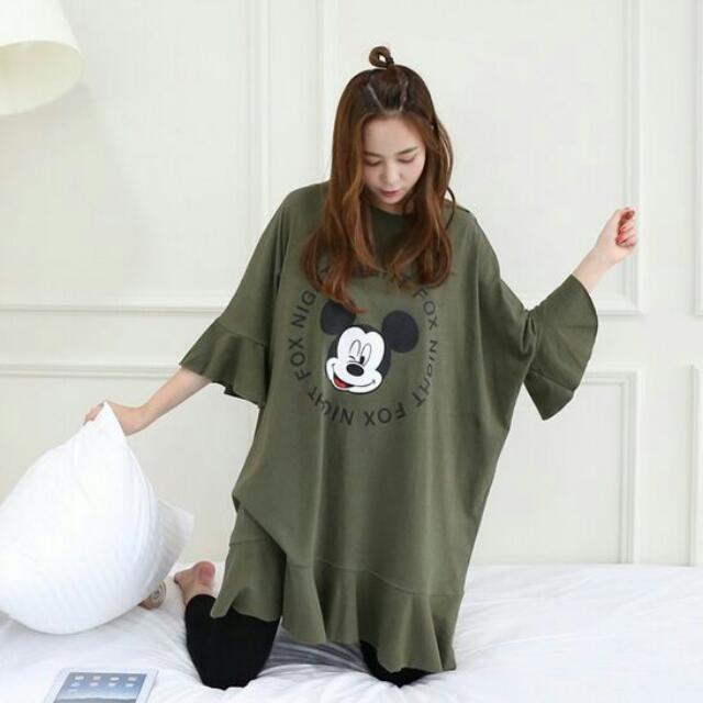 (33765)蝙蝠袖荷葉邊印花T恤(綠色)