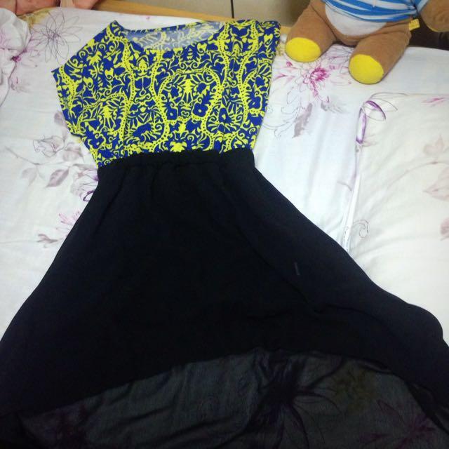 黃藍黑色透膚紗質洋裝