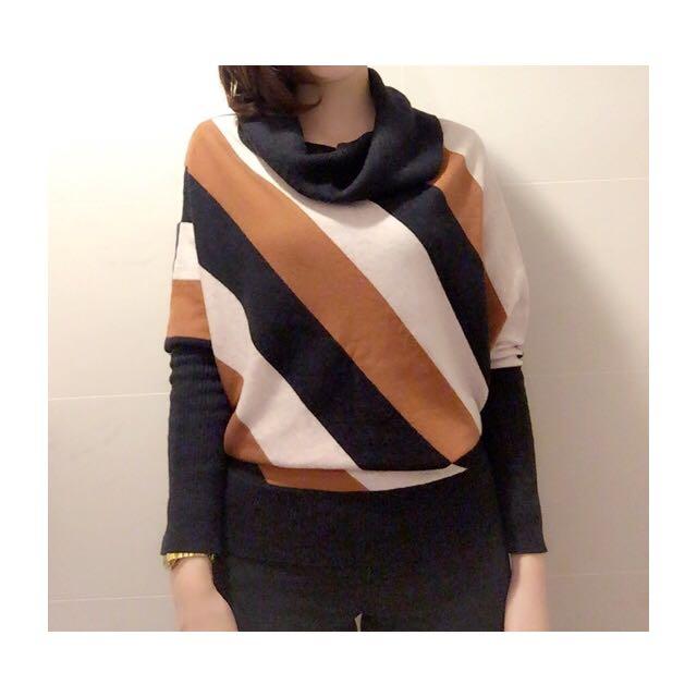 正韓條紋造型毛衣