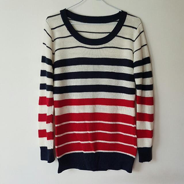 圓領條紋針織毛衣