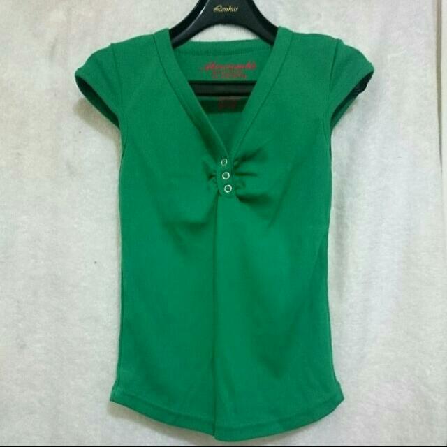 [九成新]夏天領口抓皺休閒短袖上衣