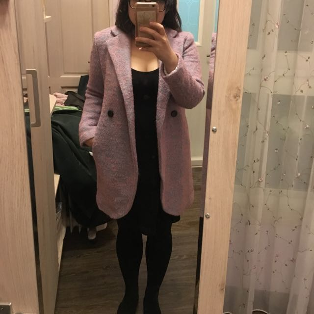 粉紫色保暖大衣,毛呢大衣,韓 大衣類型