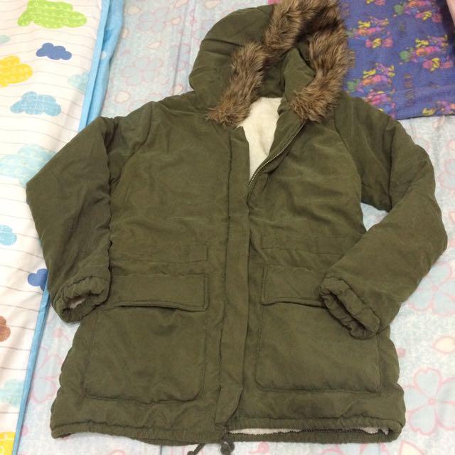 絨布軍綠外套 帽外套 大衣 軍外套
