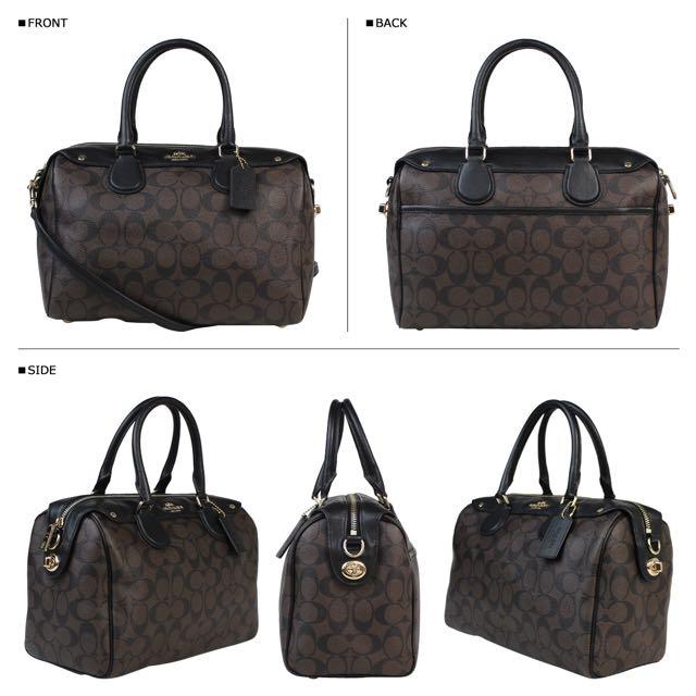 美國購入全新正品實品 Coach拼接皮革logo花色兩用手提側背包 波士頓包 枕頭包