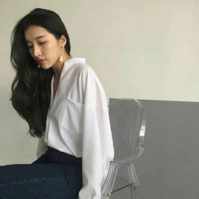 保留 💯 V領寬鬆白襯衫