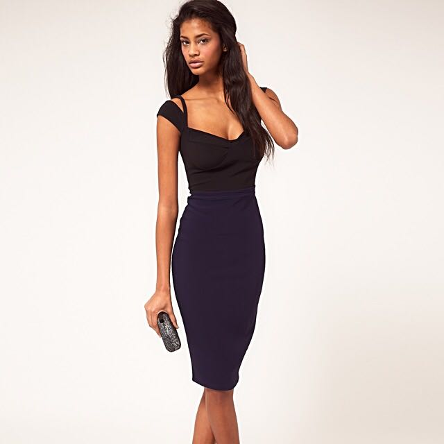ASOS Pencil Dress With Sweetheart Neckline