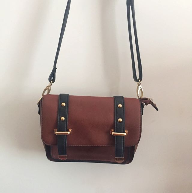 Brown And Black Side Bag