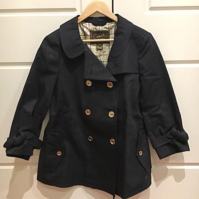 Coach Navy Blue Trench Coat - Size 8