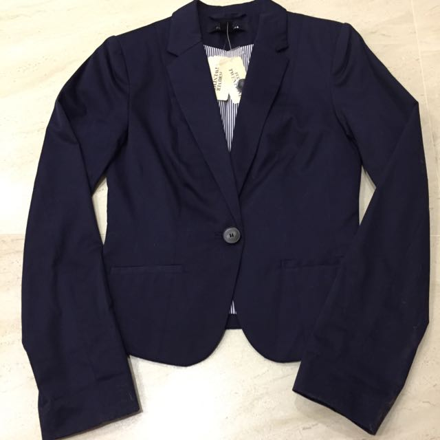 FOREVER 21 F21 藍色經典條紋 西裝外套 海軍藍 Navy Blazer With Buttons