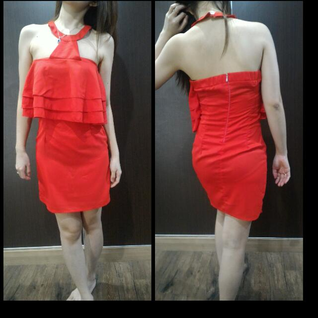 REPRICE Halter Red Dress