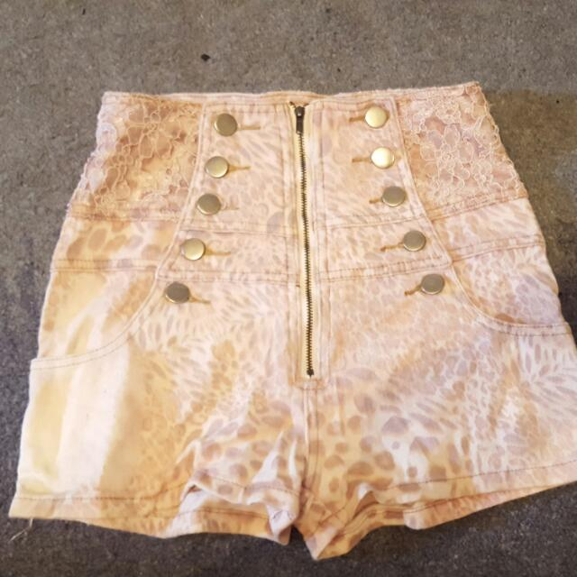 High Waist Leopard Print Hotpants Shorts Size 8