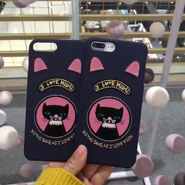 刺繡貓咪🐱半包硬殼iPhone手機殼iphone7/iphone6/plus