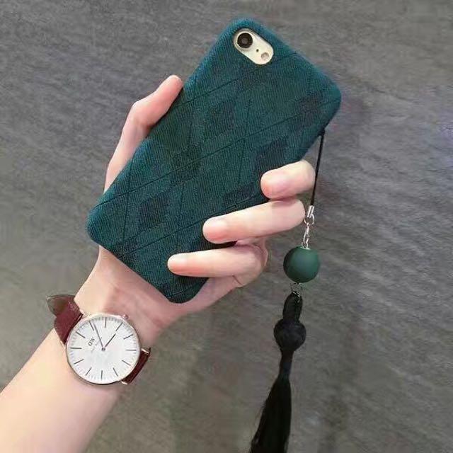 文青森女墨綠色民族風流蘇菱格紋手機殼iPhone手機殼iphone7/iphone6/plus