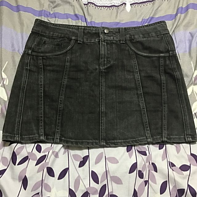 MAX&Co黑牛仔短裙