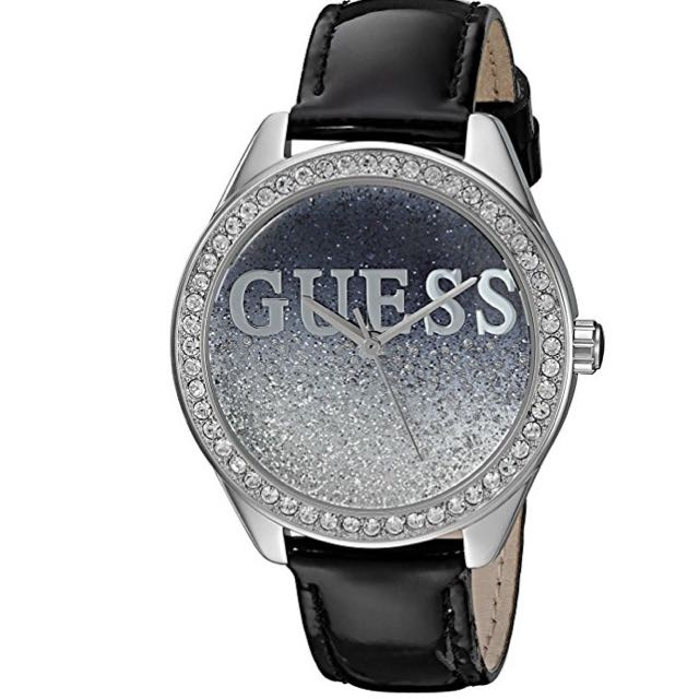 New Guess Women's Trendy Silver-tone Watch w/ Black Dial