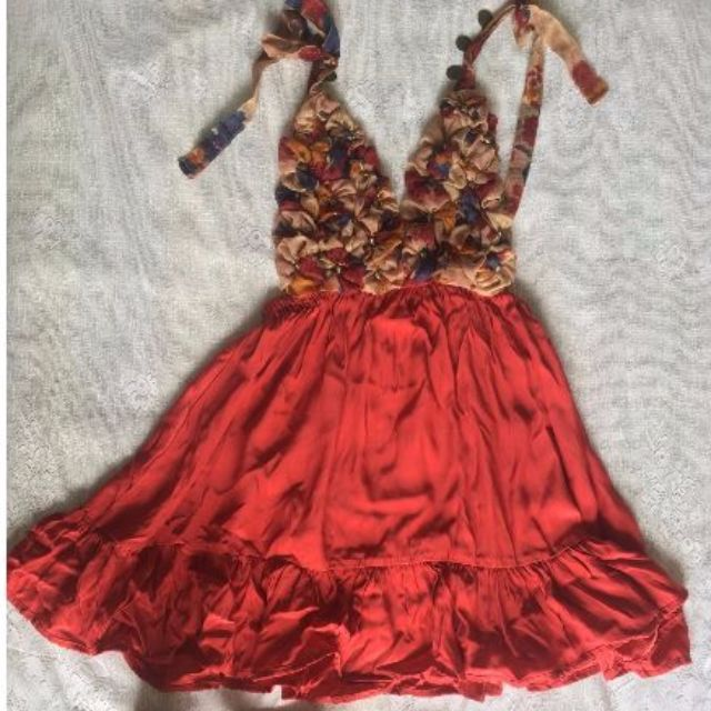 Red Silk party Dress Size 8-10
