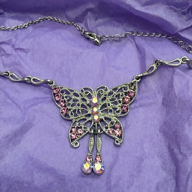 Silver Butterfly Necklace With Purple Rhinestones