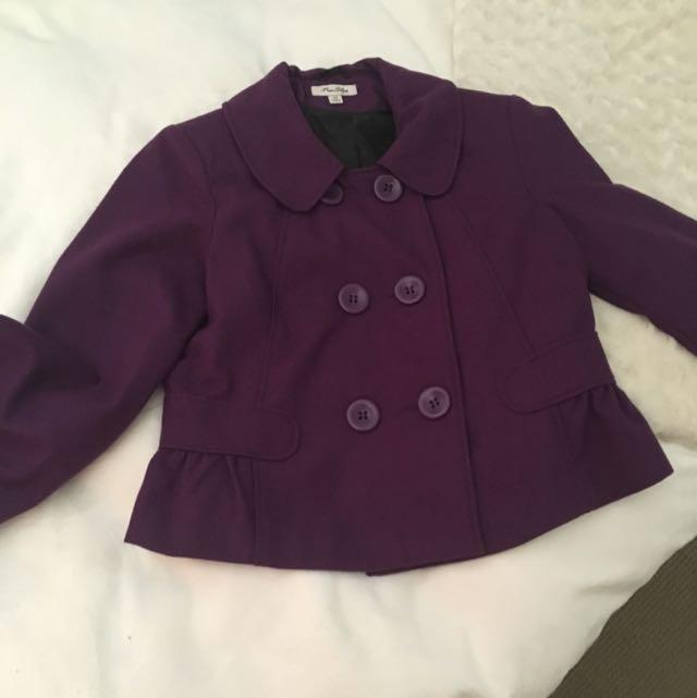 Size 14 Purple Blazer Style Coat