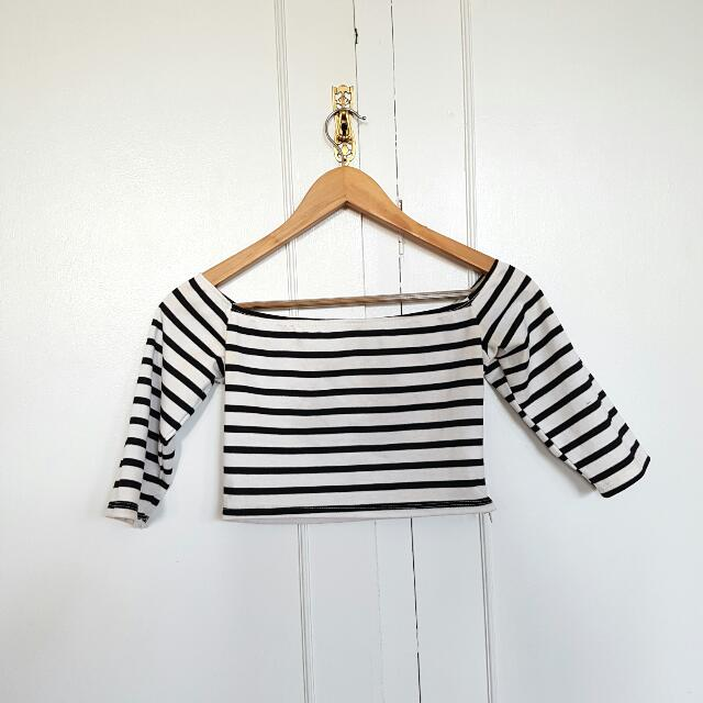 Striped Off The Sholder Crop