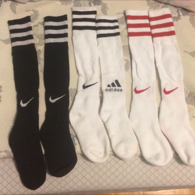 Thick Strip Socks With Logos Black White Red No Size