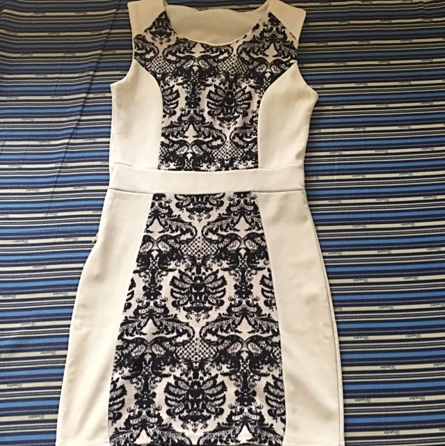 White & Black Floral Printed Dress