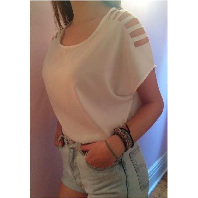 White Cutout Top