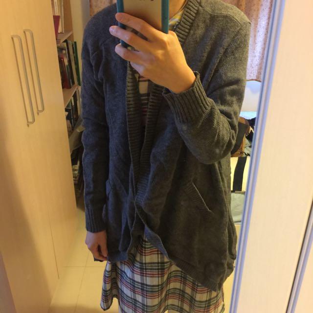 Zara 羊毛 長版 開襟 毛衣 針織 長版上衣 洋裝  不規則 傘狀