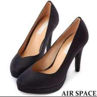 全新轉賣airspace 質感霧面皮革黑色高跟鞋 36號