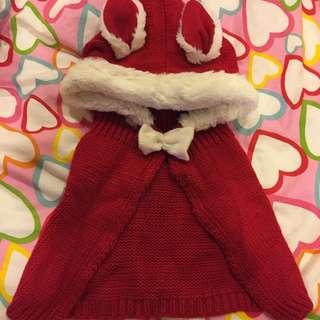 寶寶兔耳朵針織斗篷