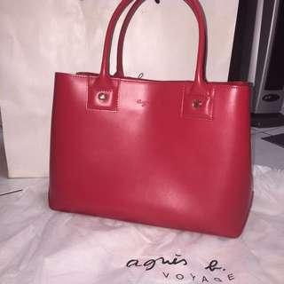 Agnes b. 小b 牛皮金拉鍊手提包子母包 紅色