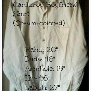 #FreePostage Plussize Carduroy Boyfriend Shirt