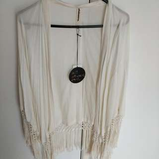 All About Eve Cream Fringe Cape Size 8