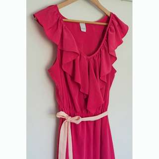 Hot Pink Summer Dress with frills Size 12