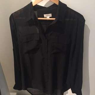WITCHERY Black Sheet shirt (Size 10 M)
