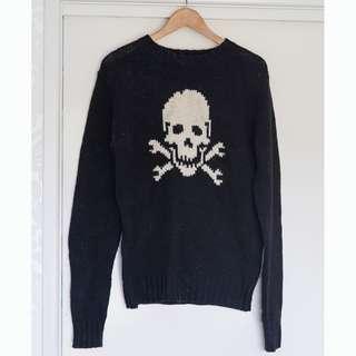 Deus Ex Machina Skull Rapido Black Jumper Sweater Size S