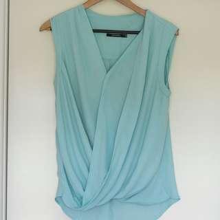Portmans Aqua colour crossover wrap top Size 12