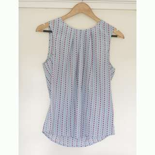 Light Blue and pink spot Dotti top size 12