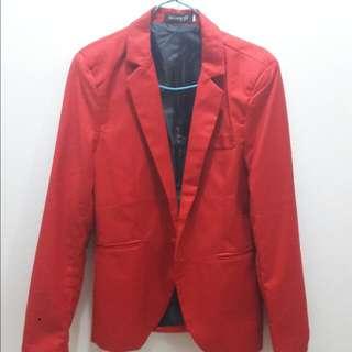 紅 韓版西裝外套