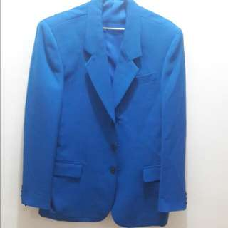 藍 韓版西裝外套