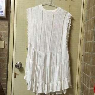 ✨全新✨🇰🇷簍空拼接蛋糕裙棉麻洋裝