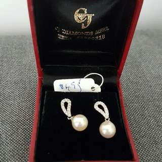 Genuine Pearl And Diamond Earrings