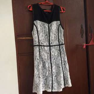 Forever 21 Black and White Semi Lace Dress