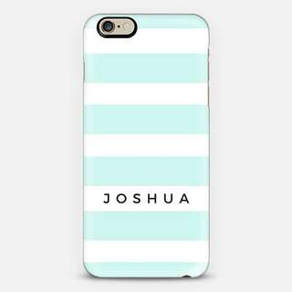 CUSTOMISE NAME on Mint Stripes phone cover