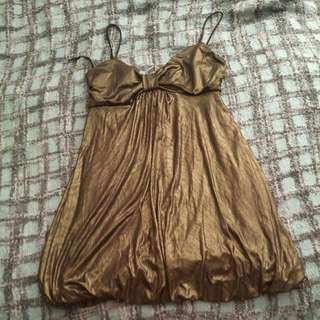 Gold Mini Dress With Bubble Skirt
