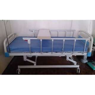 EMS Hospital bed with overbed table foot stool 3 cranks