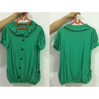 Green Top / Atasan Katun Hijau Kancing